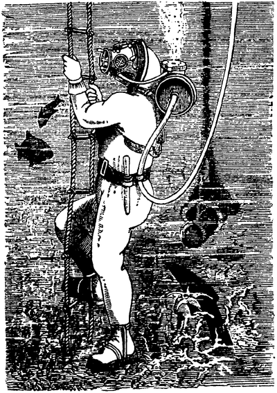 Desen al unui scafandru în antichitate